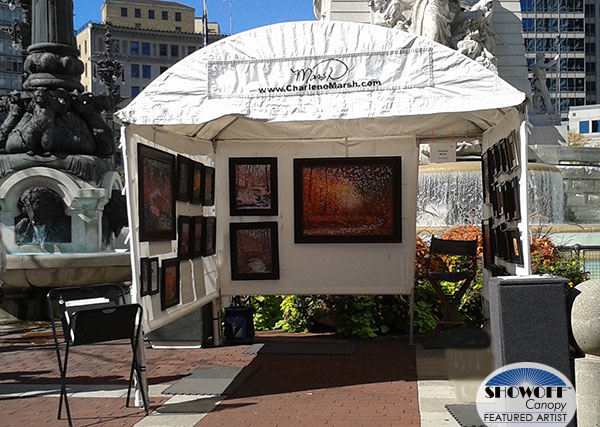 Charlene Marsh's oil paintings in her SHOWOFF Canopy