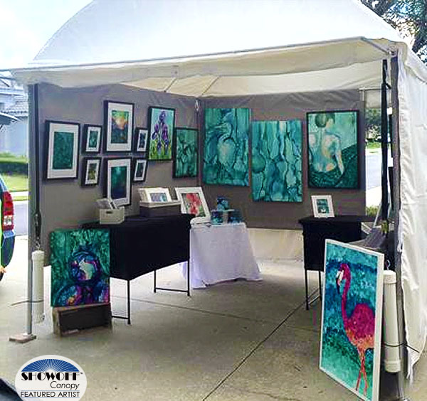 Heidi Stavinga's alcohol ink art in her SHOWOFF Canopy