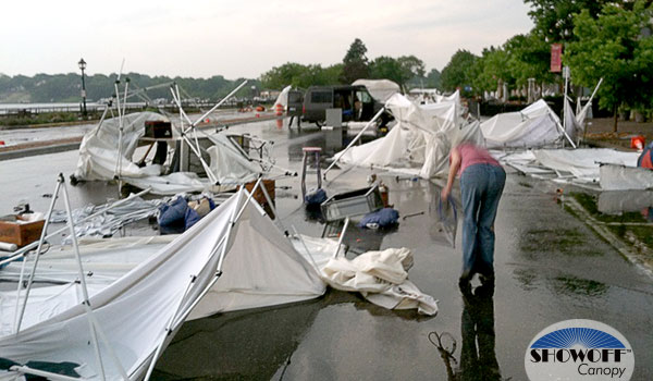 art booths after storm